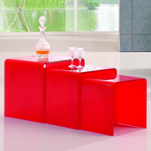 Three Nested Glass Coffee Tables - Red Glass