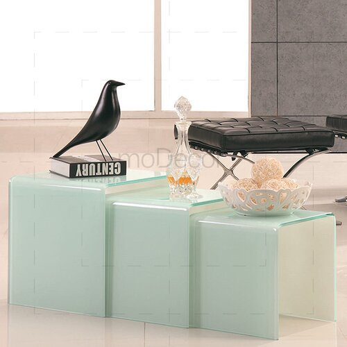 Three Nested Glass Coffee Tables - White Glass