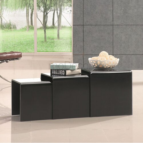 Three Nested Glass Coffee Tables - Black Glass