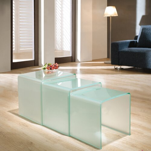 Three Nested Glass Coffee Tables - Dull Polish Glass