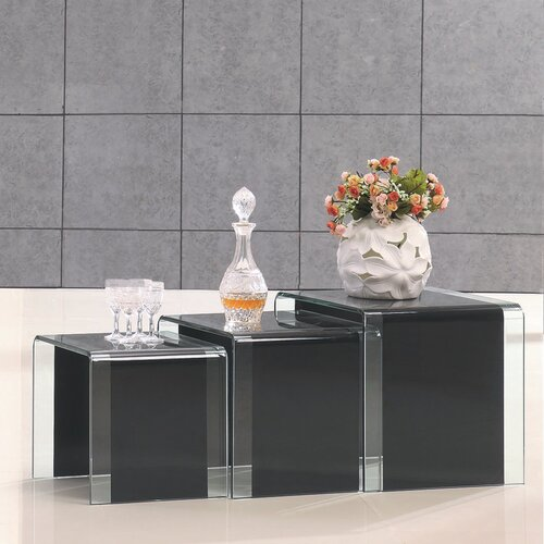Three Nested Glass Coffee Tables - Black-Clear Glass
