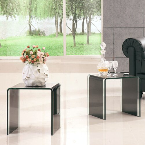 Two Glass Coffee Tables - Black-Clear Glass