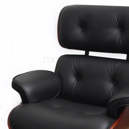 Eames Lounge Chair and Ottoman - Black with Cherry Wood