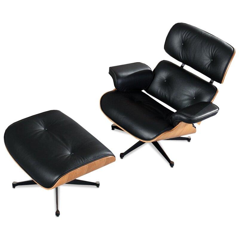 eames lounge chair und ottomane schwarz mit eichenholz 834 00 eur. Black Bedroom Furniture Sets. Home Design Ideas