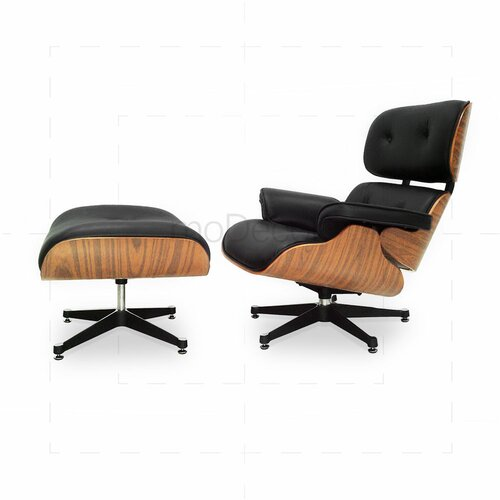 Eames Lounge Chair And Ottoman   Black With Oak Wood ...