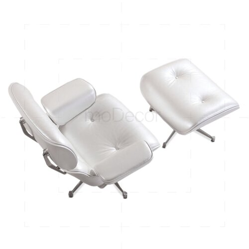 Eames Lounge Chair and Ottoman - Perlwhite with white Wood