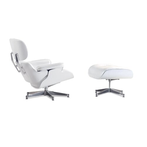 ... Eames Lounge Chair And Ottoman   Perlwhite With White Wood