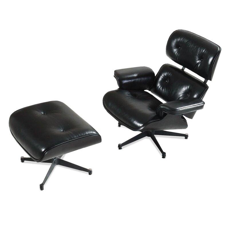 eames lounge chair und ottomane schwarz mit schwarzem. Black Bedroom Furniture Sets. Home Design Ideas