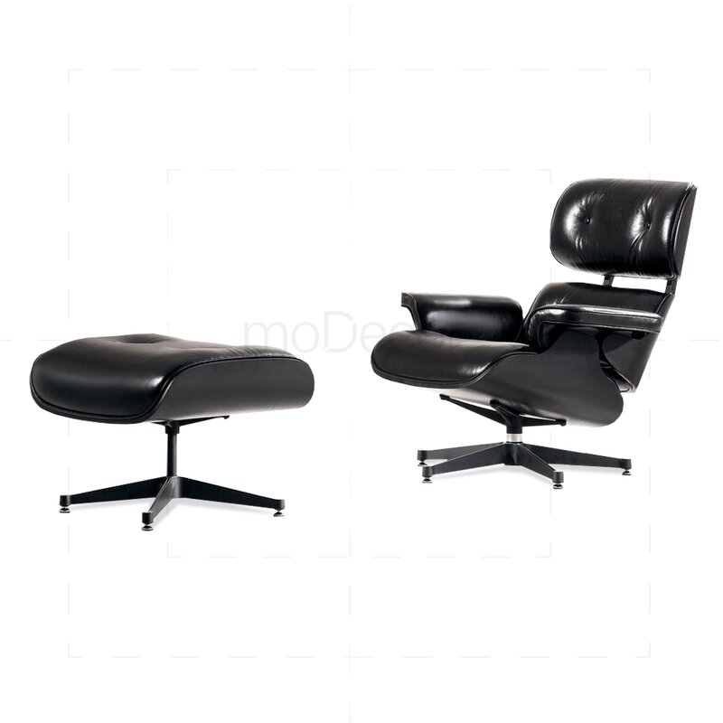 Eames Lounge Chair And Ottoman Black With Black Wood 163