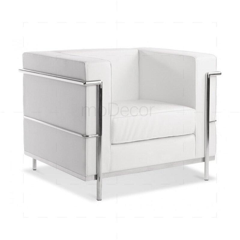 fauteuil lc2 de le corbusier au cuir blanc 576 76. Black Bedroom Furniture Sets. Home Design Ideas