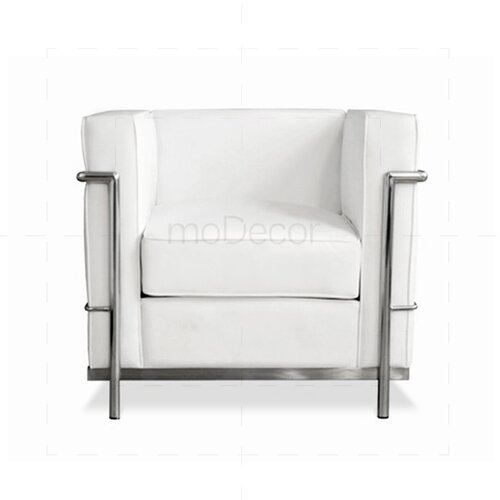 Draaifauteuil Wit Leer.Le Corbusier Lc2 Armchair White 552 89