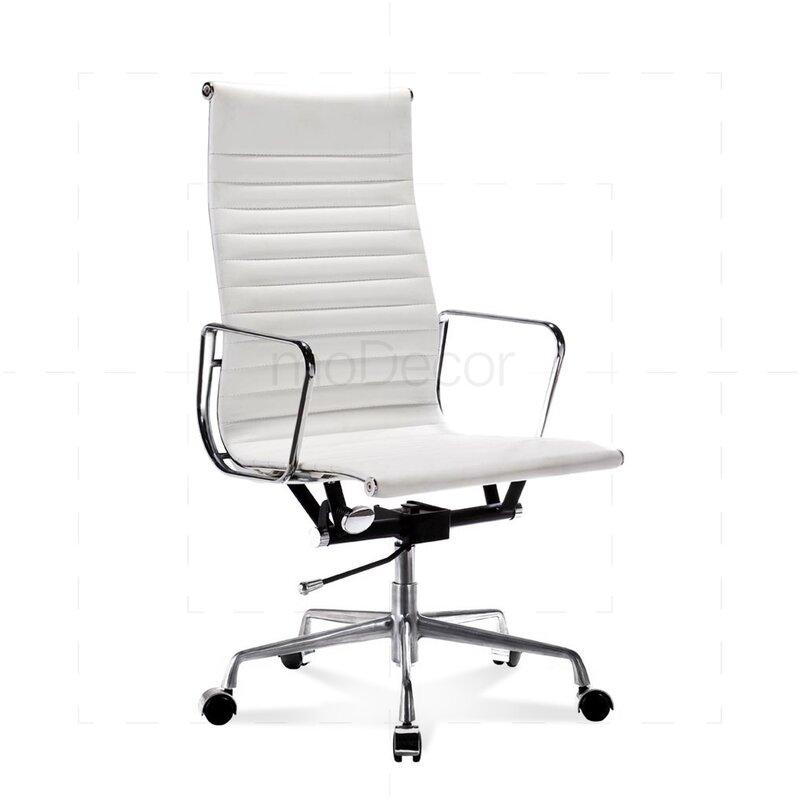 hoher eames office chair mit geripptem wei em leder 330. Black Bedroom Furniture Sets. Home Design Ideas