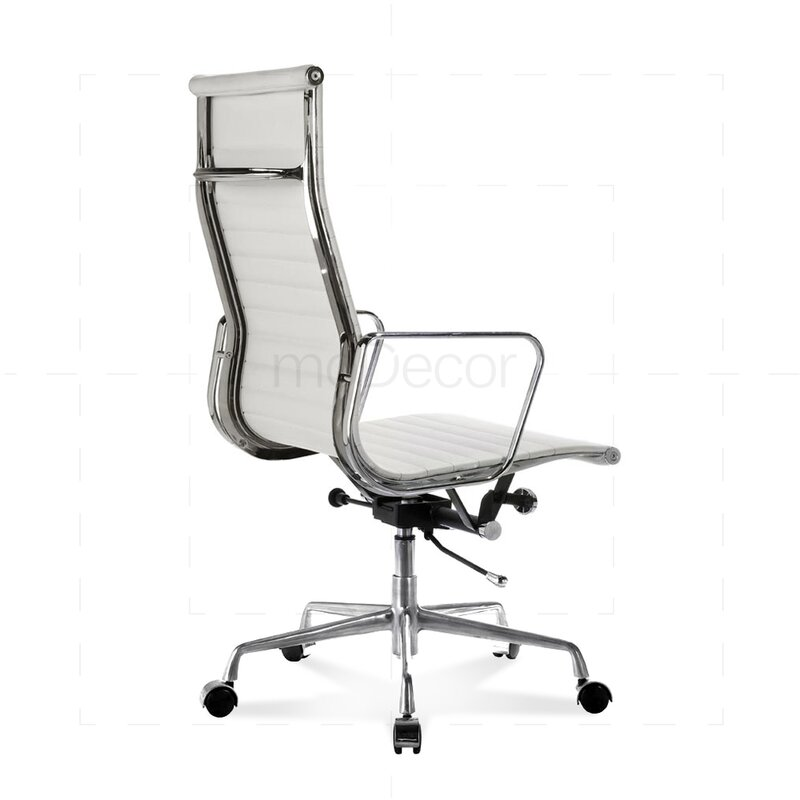 hoher eames office chair mit geripptem wei em leder 330 00 e. Black Bedroom Furniture Sets. Home Design Ideas