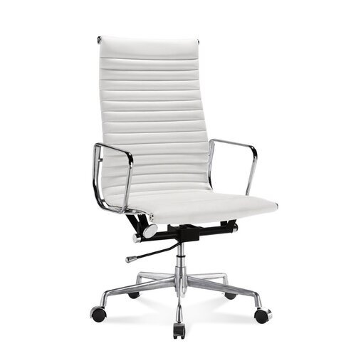 Hoge Eames Office Chair met geribbeld, wit leer