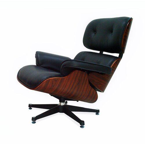 Eames Lounge Chair - Black with Cherry Wood