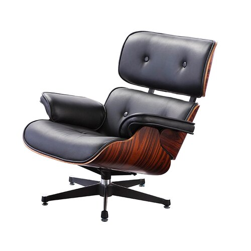Eames Lounge Chair - Black with Rose Wood