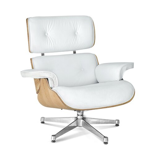Eames Lounge Chair - Perlwhite with Oak