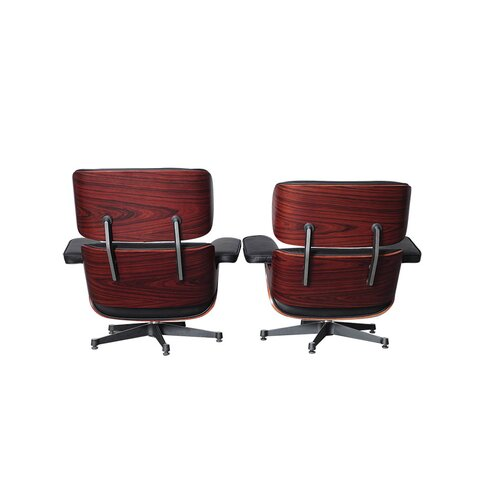 Eames Lounge Chair and Ottoman (XXL) - Black with Rose Wood