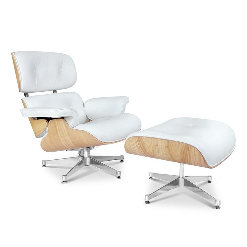 Eames Lounge Chair And Ottoman XXL White With Oak Wood - Charles eames lounge chair