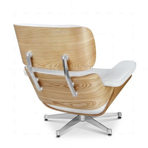 Eames Lounge Chair and Ottoman (XXL) - White with Oak Wood