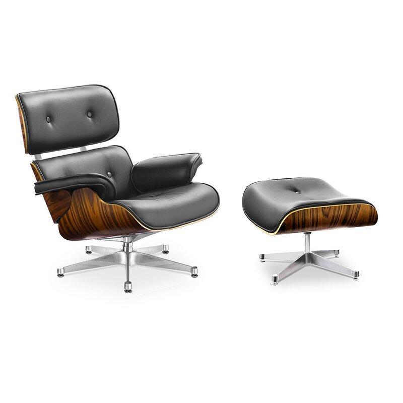 eames lounge chair und ottomane schwarz mit palisander. Black Bedroom Furniture Sets. Home Design Ideas