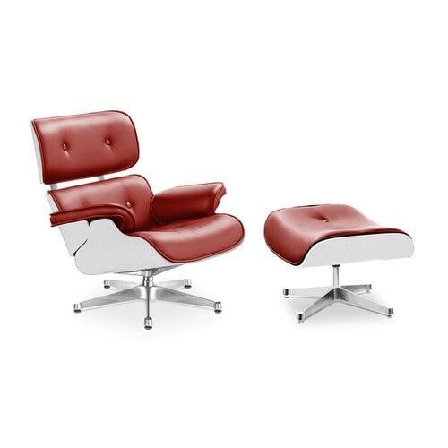 Eames Lounge Chair Und Ottomane   Rot Mit Weißem Holz