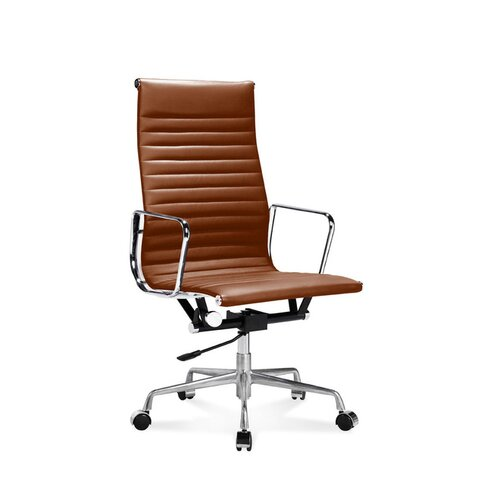Eames Office Chair - High Back - Ribbed Leather - Cognac