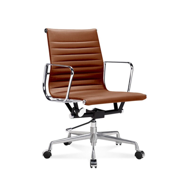 Eames Office Chair Low Back Ribbed Leather Cognac 163