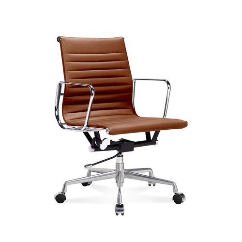 Eames Office Chair - Low Back - Ribbed Leather - Cognac