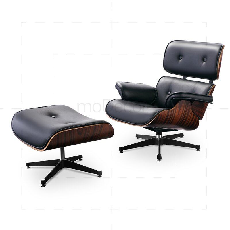 eames lounge chair and ottoman black with rose wood. Black Bedroom Furniture Sets. Home Design Ideas