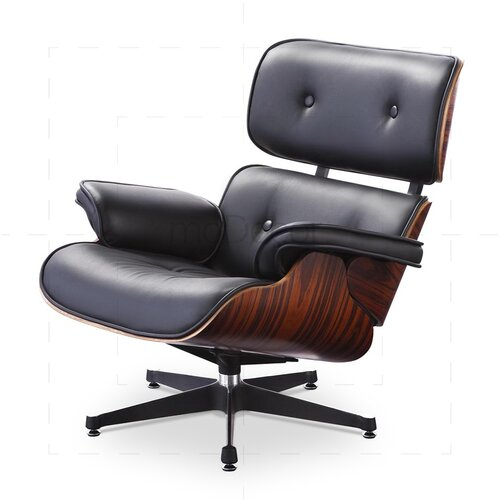 Eames Lounge Chair and Ottoman - Black with Rose Wood