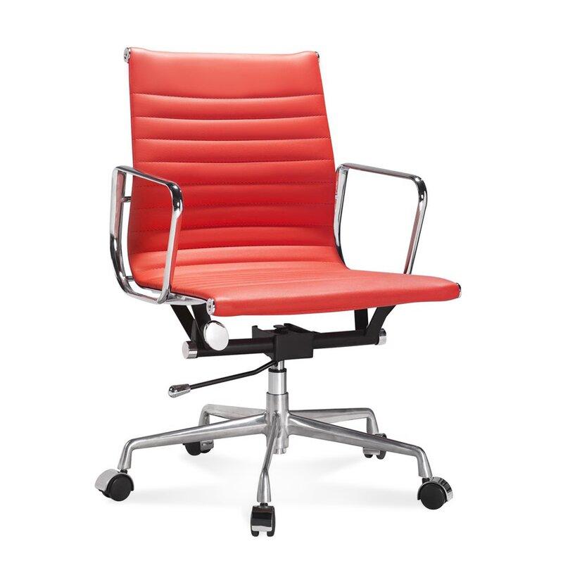 halbhoher eames office chair mit geripptem rotem leder 330 00 euro. Black Bedroom Furniture Sets. Home Design Ideas