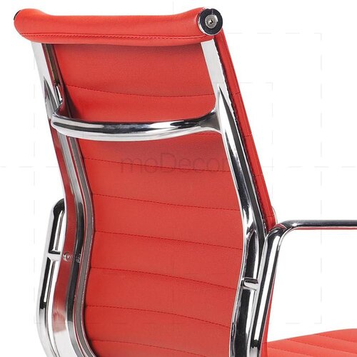 Eames Office Chair - Low Back - Ribbed Leather - Red