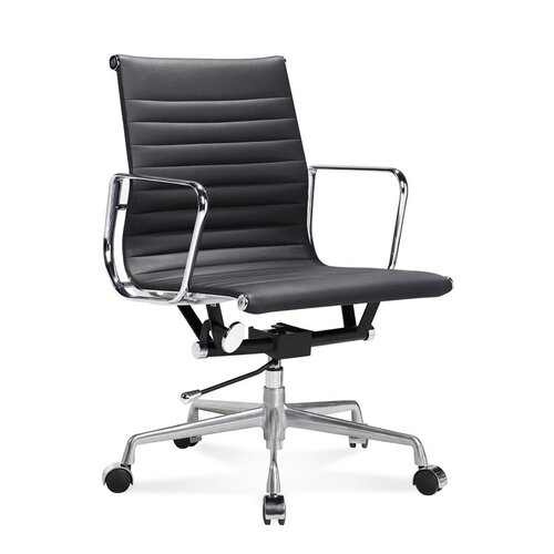 Eames Office Chair - Low Back - Ribbed Leather - Black