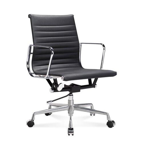 Halbhoher Eames Office Chair mit geripptem, schwarzem Leder