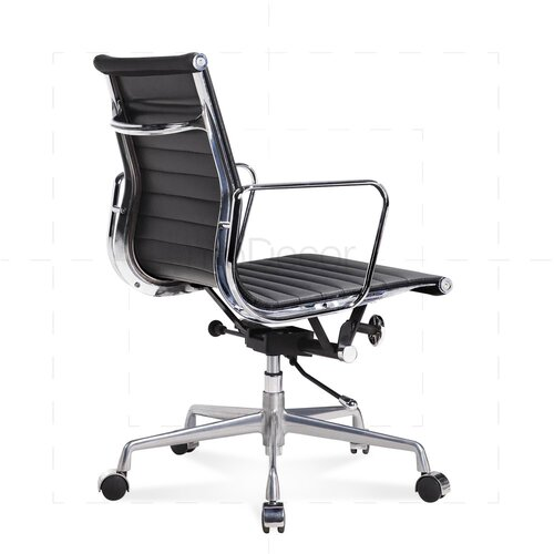 Elegant ... Eames Office Chair   Low Back   Ribbed Leather   Black ...