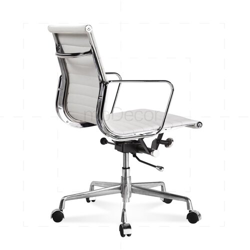 Eames Office Chair - Low Back - Ribbed Leather - White