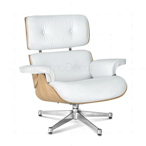 ... Eames Lounge Chair And Ottoman   White With Oak Wood ...