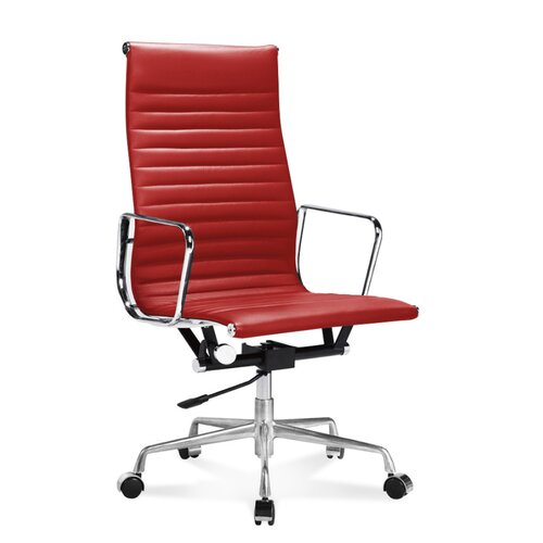 Eames Office Chair - High Back - Ribbed Leather - Red