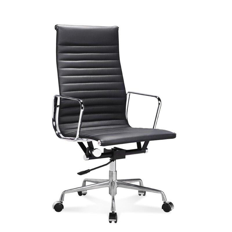 hoher eames office chair mit geripptem schwarzem leder. Black Bedroom Furniture Sets. Home Design Ideas