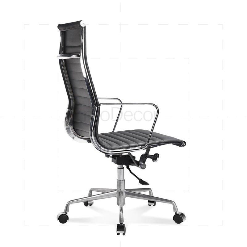 hoher eames office chair mit geripptem schwarzem leder 330 00 euro. Black Bedroom Furniture Sets. Home Design Ideas