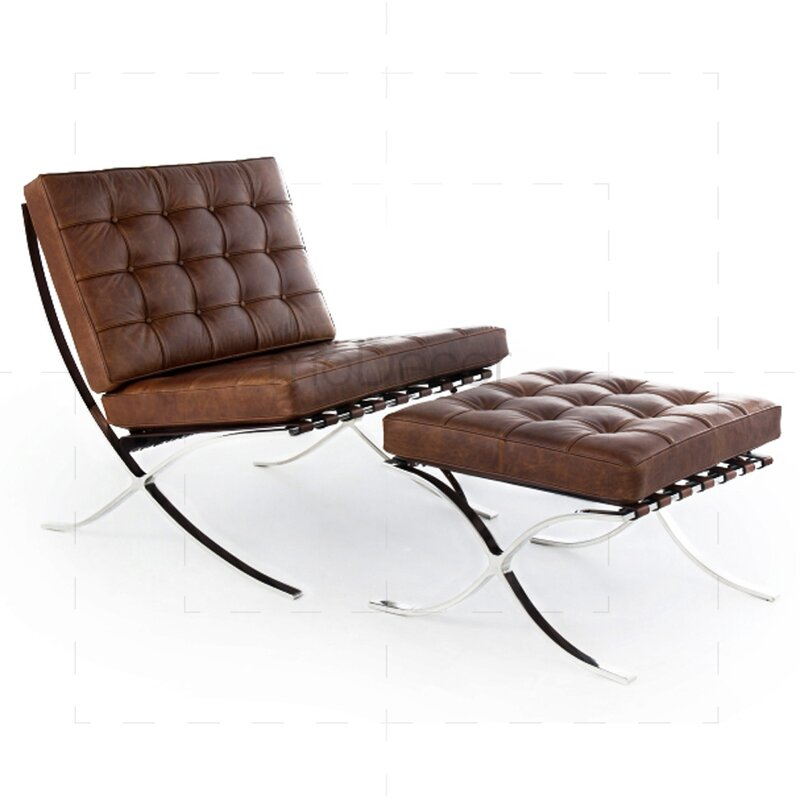 barcelona sessel in vintage braun 522 00 modecor. Black Bedroom Furniture Sets. Home Design Ideas
