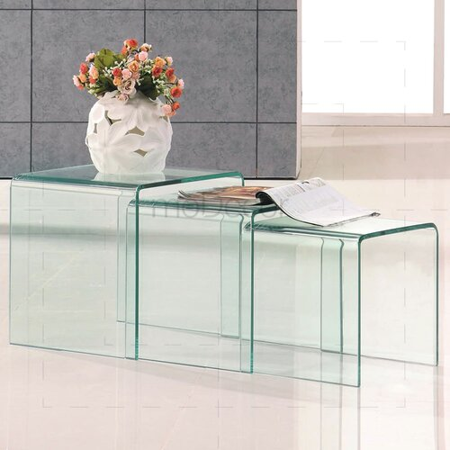 Three Nested Glass Coffee Tables - Clear Glass