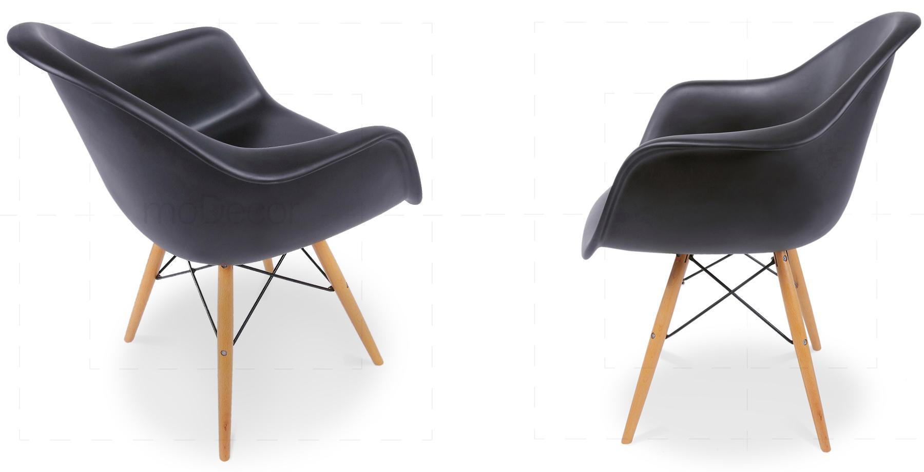 2er set eames daw stuhl in schwarz modecor hochwertige for Daw stuhl gepolstert
