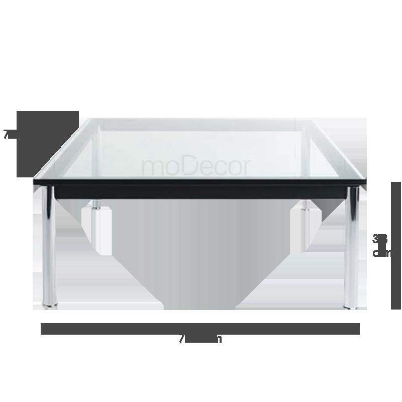 Le corbusier lc10 glazen tafel vierkant klein 587 09 - Stoelen voor glazen tafel ...