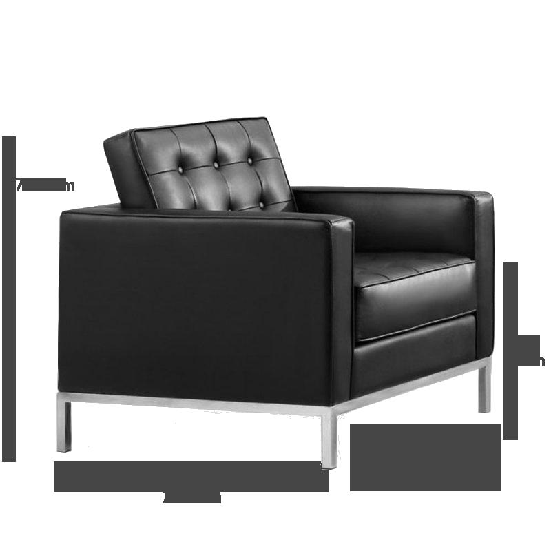 Florence knoll kleine fauteuil met zwart leer 640 84 for Fauteuil eames transparent