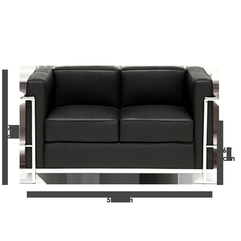 le corbusier lc2 sofa zweisitzer mit schwarzem leder 846. Black Bedroom Furniture Sets. Home Design Ideas