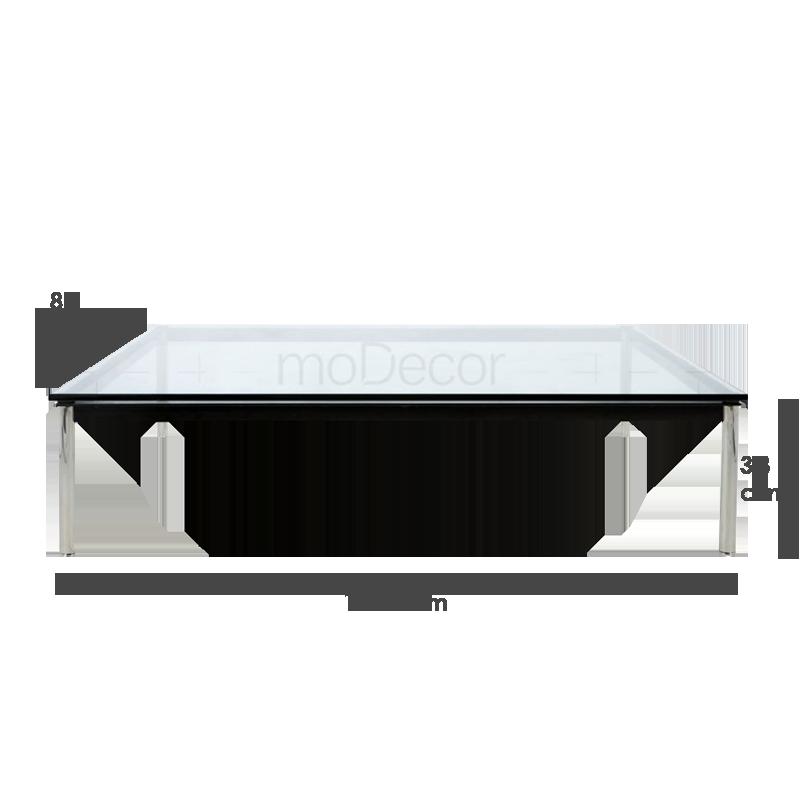 Table en verre lc10 de le corbusier rectangulaire et for Grande table en verre